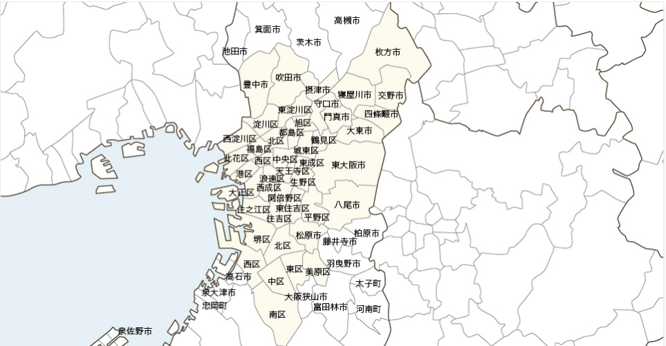 大阪でのカジーエリア